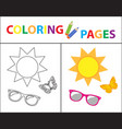 coloring book page summer set glasses sun vector image vector image