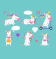 cute unicorns of set cartoon characters vector image