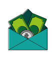 envelope with money bills icon vector image vector image