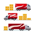 Fast delivery red trucks set with parcel boxes vector image vector image