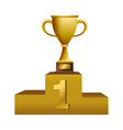 first place trophy cup on podium vector image vector image
