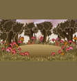 forest scene with meadow and flowers vector image