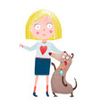 girl and dog friends vector image vector image