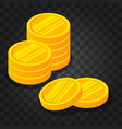 gold coin stack on dark transparent background vector image vector image