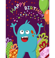 Happy blue monster with gifts and balloons vector image