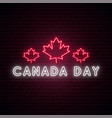 happy canada day neon signboard bright light vector image vector image