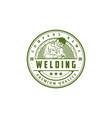 hipster retro vintage welder welding man logo vector image
