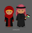 jordanians in national dress with a flag vector image vector image