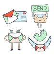 Mail and social media icons Set of hand vector image vector image