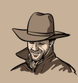 man with cowboy hat and shirt and slicker vector image