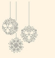 minimalism linear floral christmas ball toys on vector image vector image