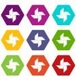 origami shuriken icons set 9 vector image