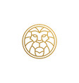 outline emblem geometric lion head in circle vector image vector image