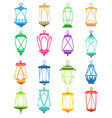 ramadan cplorful lantern set vector image