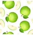 realistic detailed 3d whole green apple and slice vector image vector image