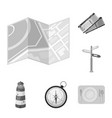 rest and travel monochrome icons in set collection vector image