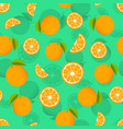 seamless pattern with oranges and leaves citrus vector image vector image