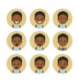 set afro american child facial expressions