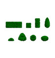set different bushes 3d low poly vector image vector image