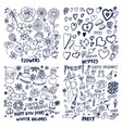 set flowers hearts winter holidays party cards vector image