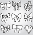 set of bows hearts cupcakes sketch contour pen vector image vector image