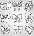 set of bows hearts cupcakes sketch contour pen vector image