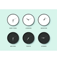 Set of day and night clock for time zones vector image