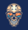 skull beach hand drawn line with digital color vector image vector image