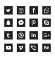 social media black square icons set vector image vector image