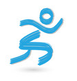 sport athletic man figure brush stroke icon vector image