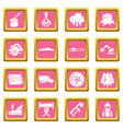 timber industry icons set pink square vector image vector image