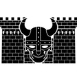 two towers and skull of viking vector image vector image