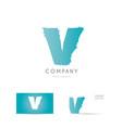 v blue letter alphabet logo icon design vector image vector image