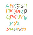 colored latin alphabet written by a child vector image