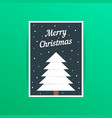 merry christmas card with white xmas tree vector image
