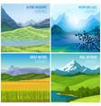 mountain landscape compositions set vector image