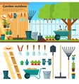 Summer Gardening Landscape in Cartoon Style vector image
