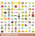 100 donation icons set flat style vector image vector image