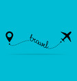 airplane travel concept with map pins gps points vector image vector image