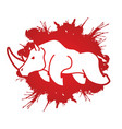 angry rhino cartoon graphic vector image