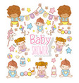 baby shower children with toys decoration vector image