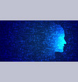 blue technology face in glitch style background vector image vector image