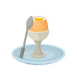 boiled eggs in egg cup fresh nutritious breakfast vector image vector image