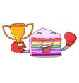 boxing winner rainbow cake in ice mascot cupboard vector image vector image