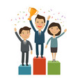 business people on pedestal success vector image vector image
