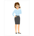 cartoon businesswoman talking on the phone vector image vector image
