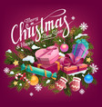 christmas gifts balls and candies on pine tree vector image vector image