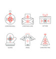 christmas icons outline vector image vector image