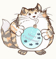 christmas pretty cat holding bauble decoration vector image