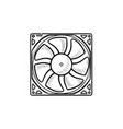 computer fan hand drawn outline doodle icon vector image vector image